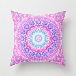 Pink Purple and Light Blue Boho Mandala Throw Pillow