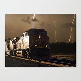 BNSF Locomotive Pulling Train in Thunderstorm at Henrietta MO Canvas Print