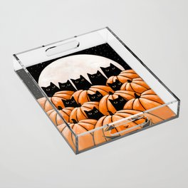 Black Cats in the Pumpkin Patch Acrylic Tray
