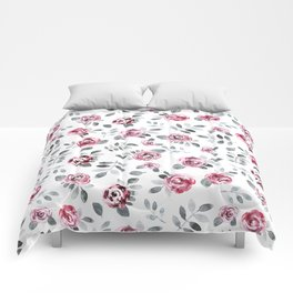 Gray pink watercolor modern leaves floral Comforters