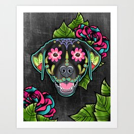 Labrador Retriever - Black Lab - Day of the Dead Sugar Skull Dog Art Print