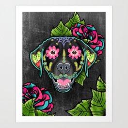 Labrador Retriever - Black Lab - Day of the Dead Sugar Skull Dog Art Print