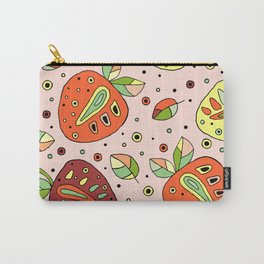 Seamless hand drawn childish pattern with fruits. Cute childlike strawberries with leaves Carry-All Pouch