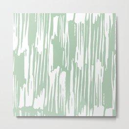 Bamboo Stripe Pastel Cactus Green and White Metal Print