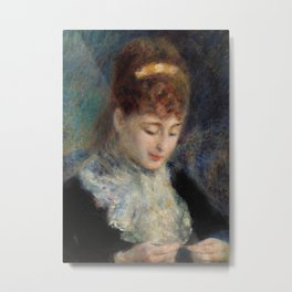 Woman Crocheting Metal Print