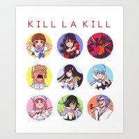 kill la kill Art Prints featuring Kill La Kill by Kelly Kao