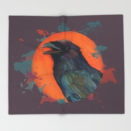 Raven Sun Throw Blanket