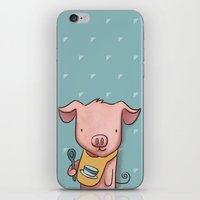 piglet iPhone & iPod Skins featuring Hungry Piglet by Hop & Flop