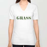 grass V-neck T-shirts featuring grass by Кaterina Кalinich