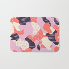 Modern abstract coral purple beige color trend camo camouflage stripes polka dots pattern Bath Mat