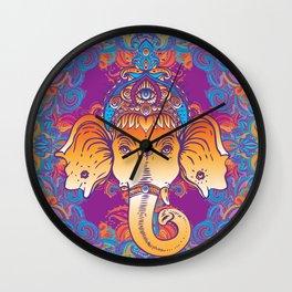 Hindu Lord Ganesha over ornate colorful mandala.  Wall Clock