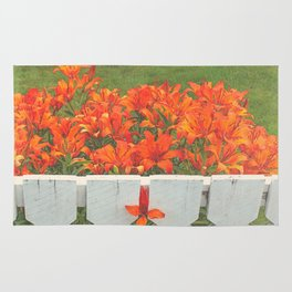 White Picket Fence / Daylilies / Flowers Rug