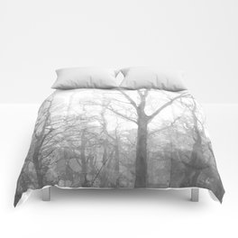 Black and White Forest Illustration Comforters