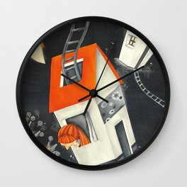 Houses and sky Wall Clock