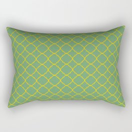 Green and Yellow Barbed Quatrefoil Pattern Rectangular Pillow