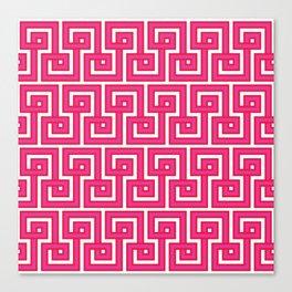 Greek Key - Pink Canvas Print