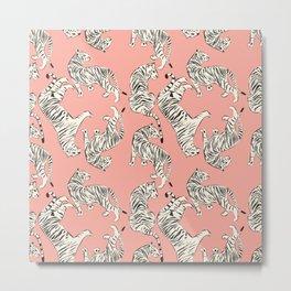 White Tigers on Pink Metal Print