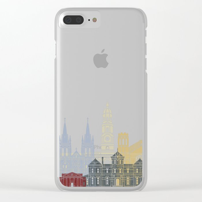 Adelaide V2 skyline poster in editable vector file Clear iPhone Case