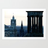 edinburgh Art Prints featuring Edinburgh by Joao Mendes