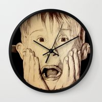 home alone Wall Clocks featuring Home Alone by DeMoose_Art