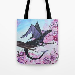 Baby Black Dragon in Cherry Tree Tote Bag