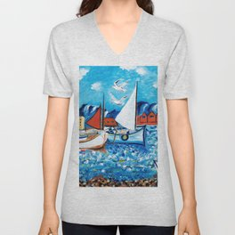 Sailboats Unisex V-Neck