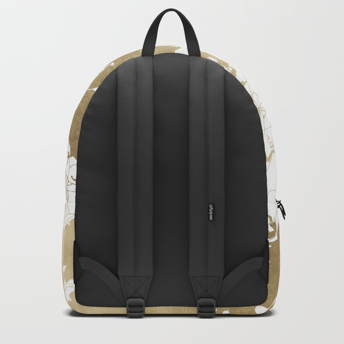 Boston White and Gold Map Backpack