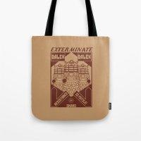 dalek Tote Bags featuring Dalek propaganda by Buby87