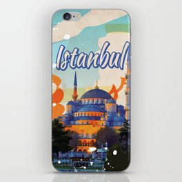 Istanbul Aya Sophia Mosque vintage travel poster iPhone Skin