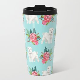Maltese dog breed floral bouquet minimal pattern dog gifts pet friendly dogs Travel Mug