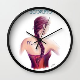 Scorpio Sign - Zodiac series by OccultArt Wall Clock