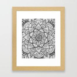 Black and White Mandala Center Framed Art Print