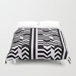 Striped Kilim in Black + Bone Duvet Cover