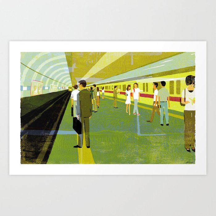 At a subway station Art Print