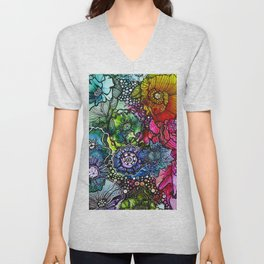 Abstract Floral 2 Unisex V-Neck