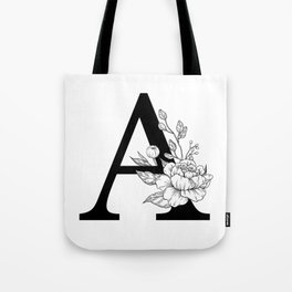 A botanical monogram. Letter initial with peonies Tote Bag