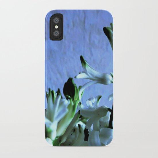 white hyacinthe on light blue background iPhone Case