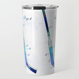 Blue Hockey Stick Art Patent - Sharon Cummings Travel Mug