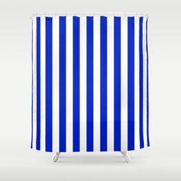 Cobalt Blue And White Vertical Beach Hut Stripe Shower Curtain