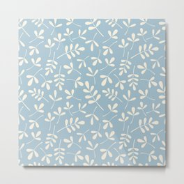 Cream on Blue Assorted Leaf Silhouette Pattern Metal Print