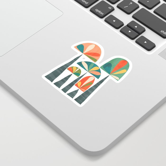 Quirky retro palm trees Sticker