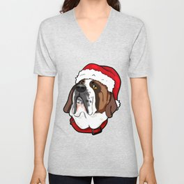 St. Bernard Saint Dog Christmas Hat Present Unisex V-Neck