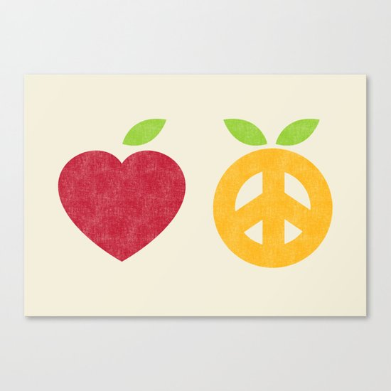 Apple and Orange - Love and Peace Canvas Print