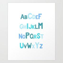 Blue Glitter Alphabet Art Print