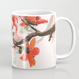 red orange kapok flowers watercolor Coffee Mug
