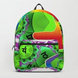 SANSKRIT GREEN HEART CHANTING MANTRA ART Backpack