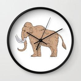 Woolly Mammoth Side Drawing Wall Clock