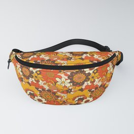 Retro 70s Flower Power, Floral, Orange Brown Yellow Psychedelic Pattern Fanny Pack