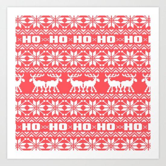 Red Ho Ho Ho Moose Ugly Holiday Sweater Pattern Art Print