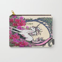 Prancing Unicorn in Pink Flowers Glade Fantasy Art Carry-All Pouch